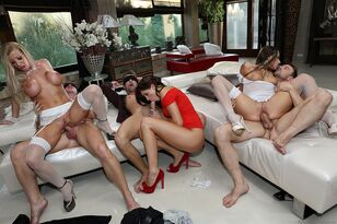 European swingers blindfold the fellows before wall to wall