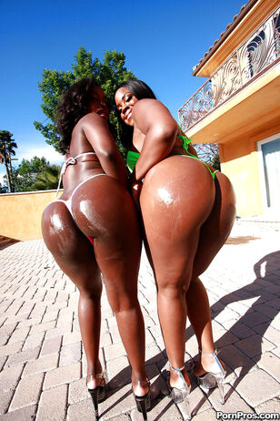 Dark-hued Mummy honeys Janae and Samone posing outdoor..