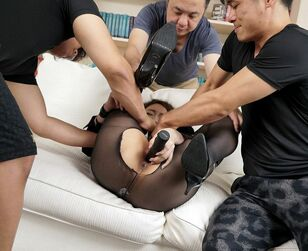 3 senior boys share chinese tramp in stocking