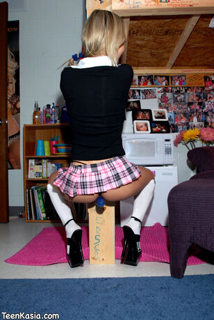 Gorgeous blond college girl Kasia in micro miniskirt and..
