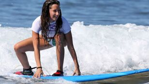 Download Wallpaper 1920x1080 girl, surfing, board, wave, bal